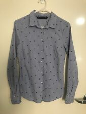 Zara Blue And White Stripe Long Sleeve 76% Cotton Collared Shirt Size Small
