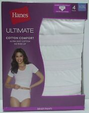 Hanes Women's 4 Pack Ultimate Cotton Comfort High Rise Brief Panties Size 9 2XL
