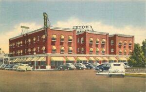 Hotel Brandon Pecos Texas Roadside Southwest Teich linen 1940s Postcard 13145