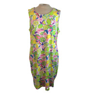 Sunsets & Sweet Tea Citrus Print Knit Mini Dress with Pockets Green Pink XL