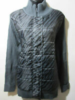 Jacket XL 14 16 Plus Lane Bryant Sweater Quilted Front Black Gray Zebra NWT G125