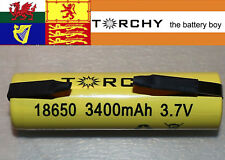 With tabs 1x Torchy (Panasonic Inside) 3400mAh 18650 3.7v Li-ion battery