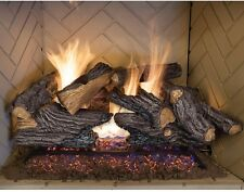 "Fireplace Logs Gas Set Natural Gas 24"" Kit Vented Split Oak 8 Piece Decor"