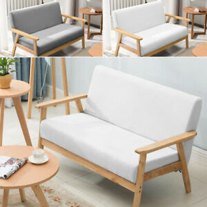 Modern 2 Seater Sofa Armchair Upholstered Fabric Linen Seat Wooden Frame