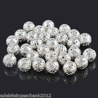 50 Versilbert Filigran Ball Perlen Beads 12mm