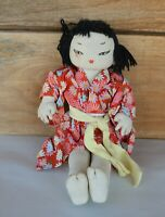 "VTG 11.5"" Cloth Female Doll Yarn Hair Asian Features Wearing Red Floral Kimono"