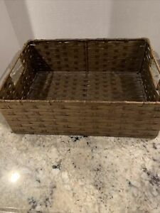 """Rectangle Wicker/Rattan Woven Basket Tray with Metal Handle Storage Decor 14""""x10"""