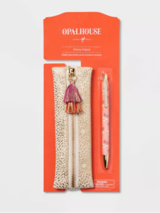 new Pencil Pouch with Elastic Band Cream/Gold Starburst - Opalhouse™