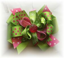 Lime Pink Dots Hot Pink Hair Bow 5 - 5 1/2 Inch Custom Made Boutique Choose Clip