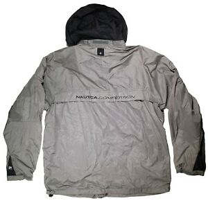 Vintage Nautica Competition Men Jacket Large Hidden Hoddie Drawstring Zip Pocket