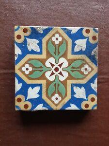 W GODWIN LUGWARDINE HEREFORD Encaustic Terracotta Antique Victorian Glazed Tile