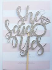 'She said yes' Silver Glitter Card Cake Topper, engagement hen party shower