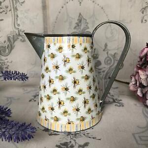 Vintage Bee Decorative Metal Jug Country Pitcher Flower Vase Shabby Chic Kitchen