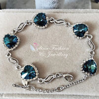 18K White Gold GF Made With Swarovski Crystal Classic Deep Teal Heart Bracelet