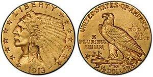 1911 $2.50 Gold COIN AU55 PCGS Native American Chief  SHINY Investment Grade