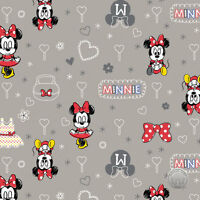 Disney Minnie Mouse Zinc Hearts Camelot Cotton Fabric by the Yard