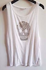 Miss Selfridge Ladies White metallised skull motif vest top Size 12