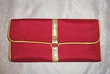 Pocket Clutch Purse,Red & Gold,Small Travel Organizer,Beauty Case,Make-Up Bag