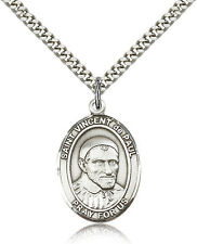 """Saint Vincent De Paul Medal For Men - .925 Sterling Silver Necklace On 24"""" Ch..."""