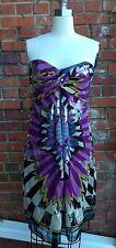 NICOLE MILLER DRESS SIZE 4 SILK KALEIDOSCOPE PRINT & METALLIC COCKTAIL DRESS