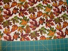 "1.5 yds x 45""  harvest leaves tossed on cream cotton quilt fabric"