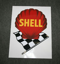 Early Shell logo w/ chequered flag self-adhesive vinyl decal for petrol bowser