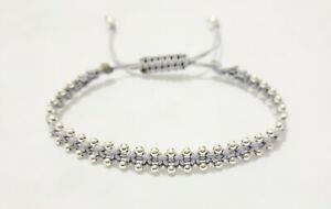 LARACO JEWELLERY - Sterling Silver Beads Friendship Knot Cord Cuff Bracelet