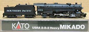 KATO 126-0114 S.P. Heavy Mikado #3304 2-8-2 Steam Engine w/Digitrax N-Scale USED