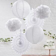Bianco da appendere decorazioni Pacco Misto-Pon Pon/Lanterne/Fan-Matrimonio/Festa