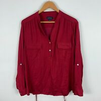 Gordon Smith Womens Blouse Top 16 Red Long Sleeve Collared Button Closure
