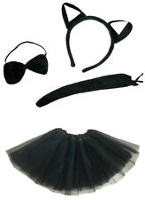 CAT Fancy Dress Costume Con Nero Tutu Costume Di Halloween Gatto Nero Streghe