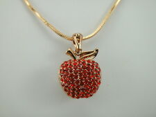 18k Yellow Gold Plated Apple Pendant Necklace Filled with Red CZ Stones