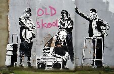 "Banksy, Old Skool, 8""x12"", Graffiti Art, Canvas Print"