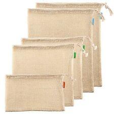 Reusable Produce Bags Natural Organic Cotton Mesh Net Set of 5