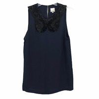 3.1 Phillip Lim Womens Small Blue Beaded Neckline 100% Silk Sleeveless Blouse