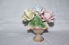 Porcelain Ornament of Vase Containing Rose Posies Table Centrepiece