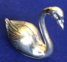 Solid Silver Hallmarked 800 Novelty Swan Statue Animal Figure Height 3.8cm