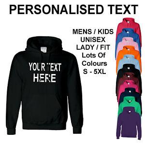 Personalised Custom Printed Text Mens Adult Hoody Kids Print Your Own Hoodies