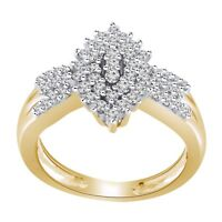 0.48ct Round Cut Sim Diamond 14K Yellow Gold Fn Cluster Engagement Wedding Ring