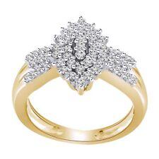 0.48ct Round Cut Sim Diamond 14K Yellow Gold Fn Cluster Engagement Wedding Ring