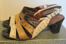 70s Vintage Brown Ostrich Print Leather Open Toe Shoes 9 M