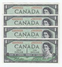 4 Consecutive Bank of Canada $1 - S/N: *A/A0058319 - *A/A0058322