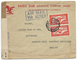 Portugal 1940 censored airmail Eagle Star Insurance cover to England a-b.60