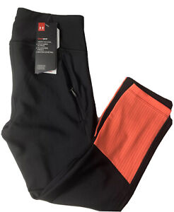 Under Armour Women's Sz Small Heatgear Black /Orange Capri Leggings Zip Pocket