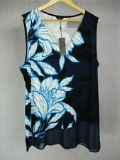 M & Co UK Size 22 Dress Ink Blue V Neck Floral Pattern Sleeveless BNWT