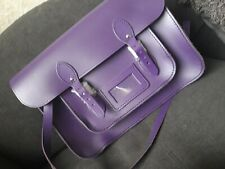 Real leather satchel bag Purple with cerificate