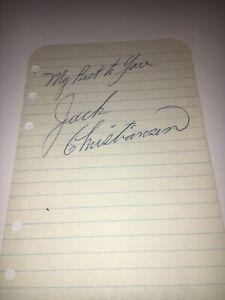 Jack Christiansen Detroit Lions Hall Of Famer Signed Album Page PSA DNA