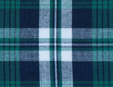 Green, Navy, White Madras Plaid, Cotton Fabric. 2½ Yards. Woven Tartan