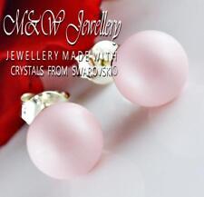 925 Sterling Silver Stud Earrings Crystals From Swarovski® PEARL Pastel Rose 8mm