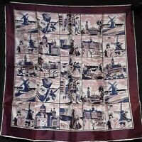 1950's Silk Souvenir of Holland Novelty Scarf (27 x 27)